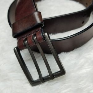 Brave Accessories - Brave Brown Italian Leather Double Hole Belt 32